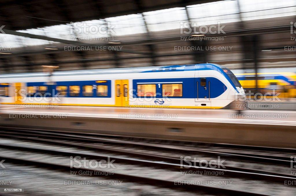 Train moving at Station stock photo