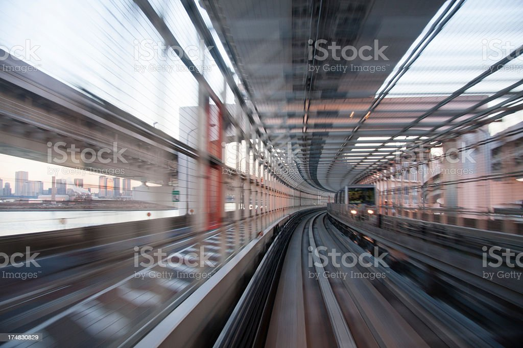 Train moving in Tunnel royalty-free stock photo