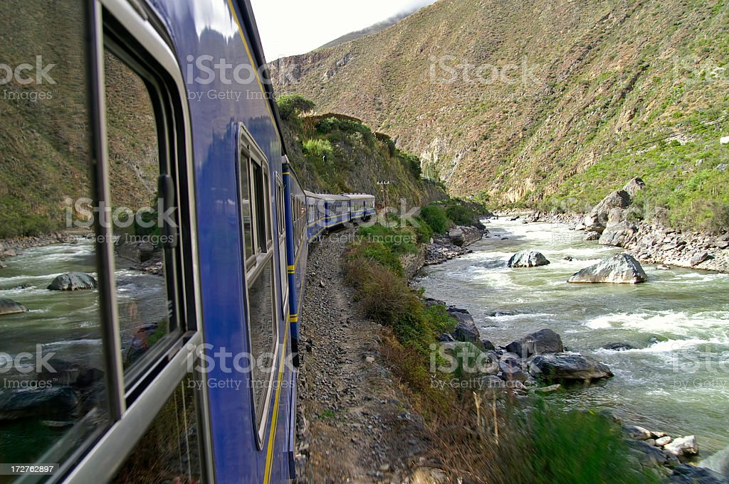 Train next to river in the way to Machu Picchu stock photo