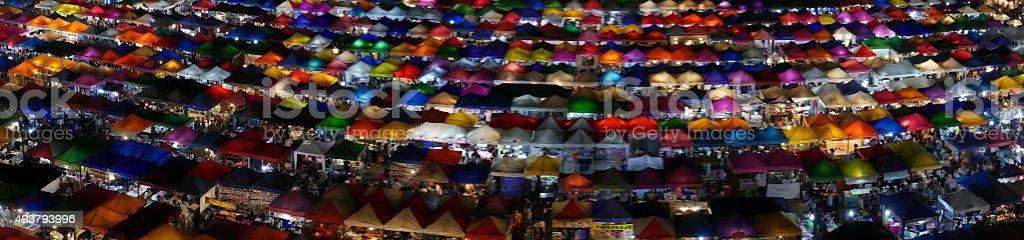 Train Night Market, Bangkok. stock photo