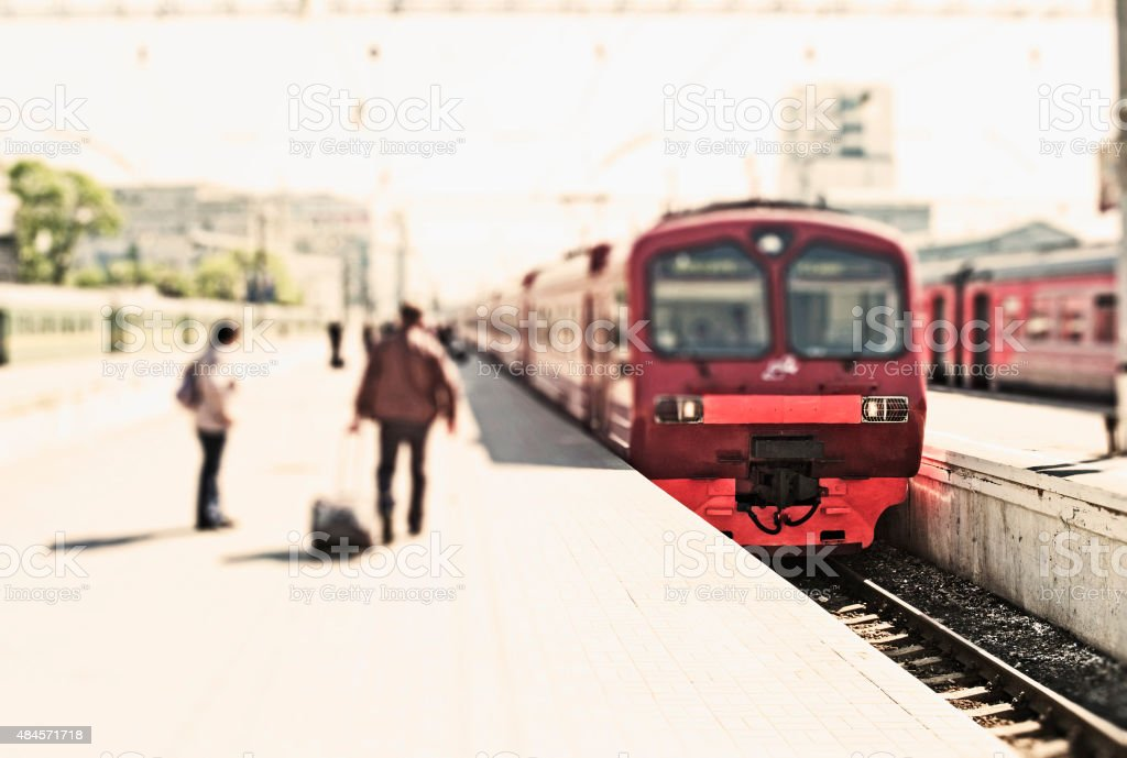 Train of Moscow and Airport stock photo
