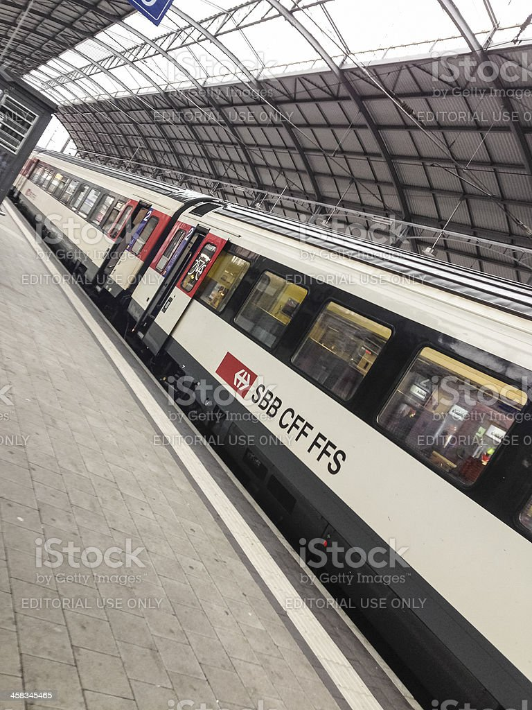 Train of Swiss Railway Company SBB in the station Basel royalty-free stock photo