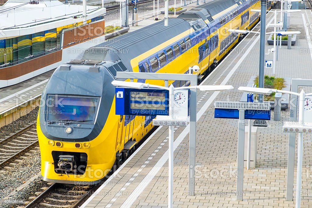 Train of the Dutch Railways or NS at Arnhem Station stock photo
