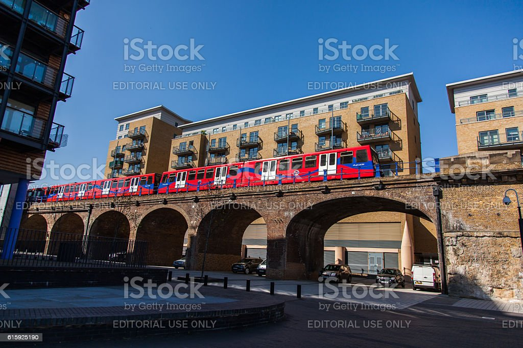 DLR Train on a viaduct stock photo