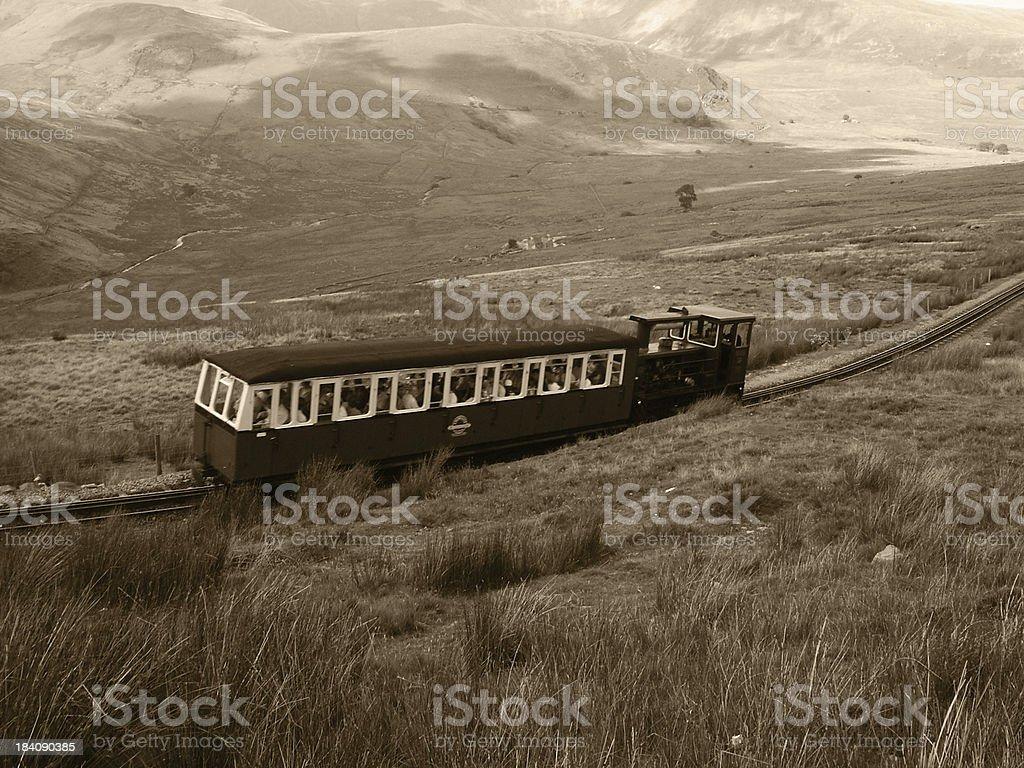 Train on mountain royalty-free stock photo