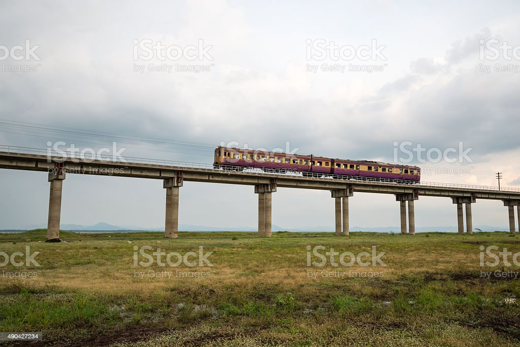 Train on rail way stock photo
