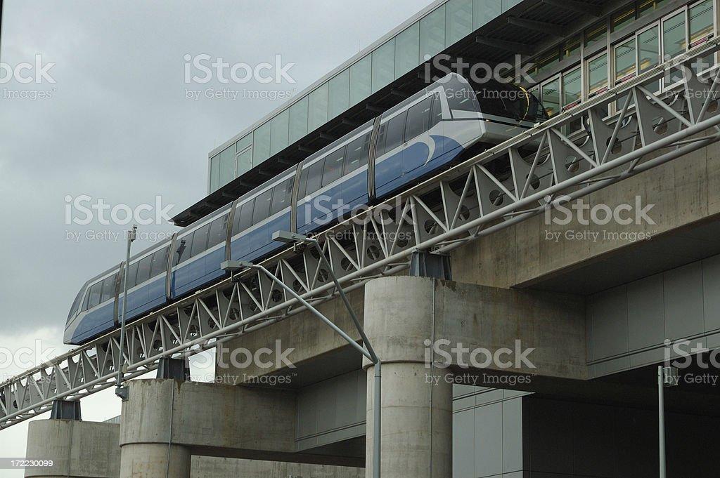 Train on rails stock photo