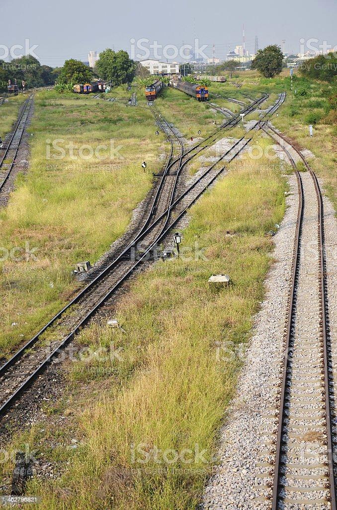 Train on Railway at Thailand stock photo