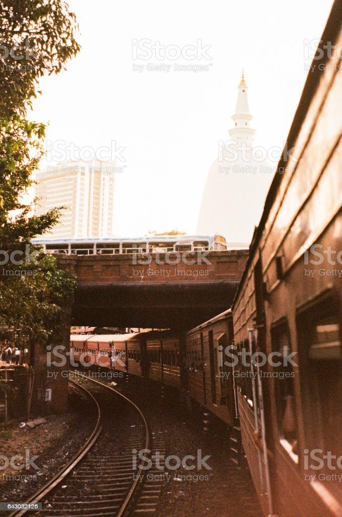 Train on railway in Colombo stock photo