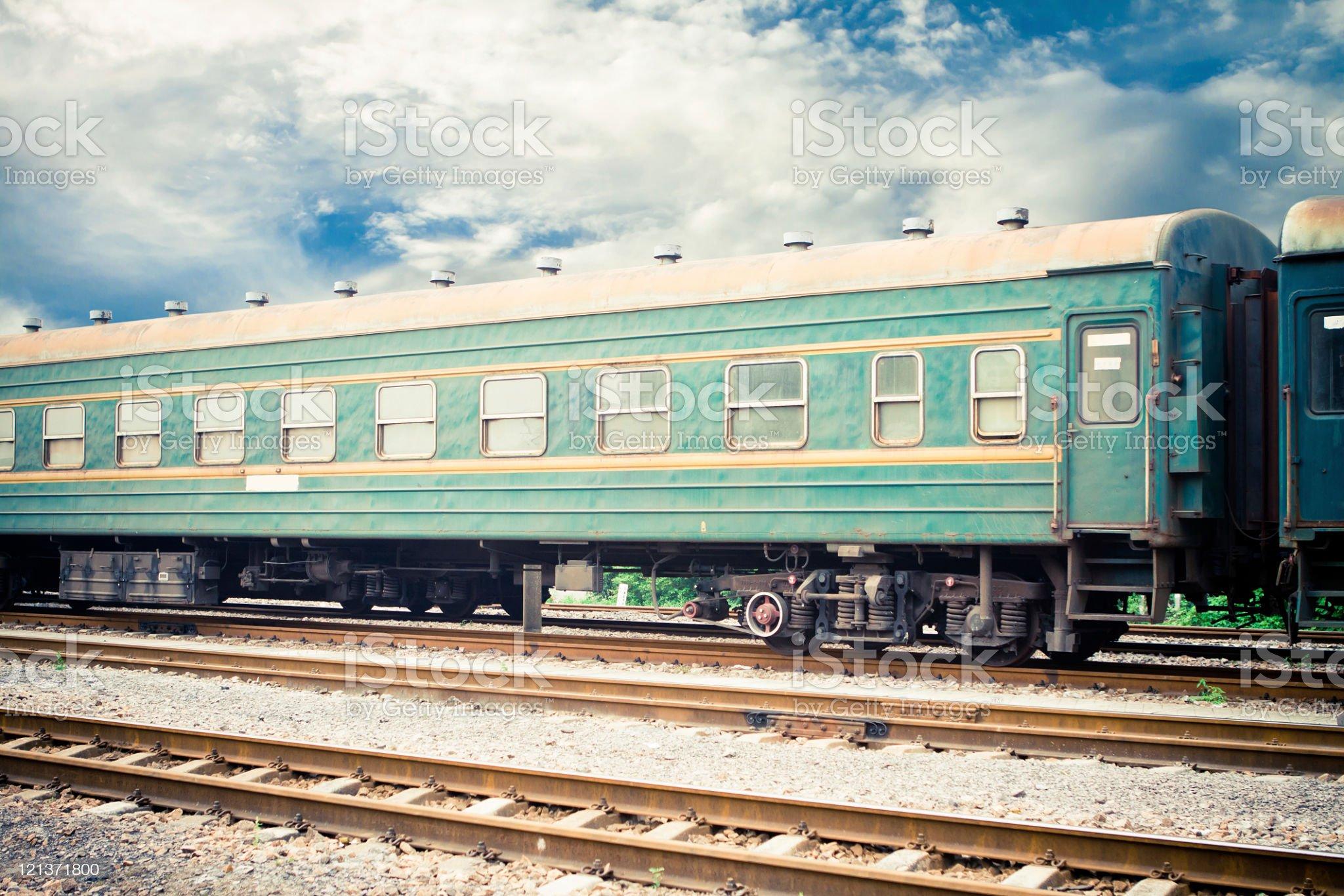 train on railway tracks royalty-free stock photo