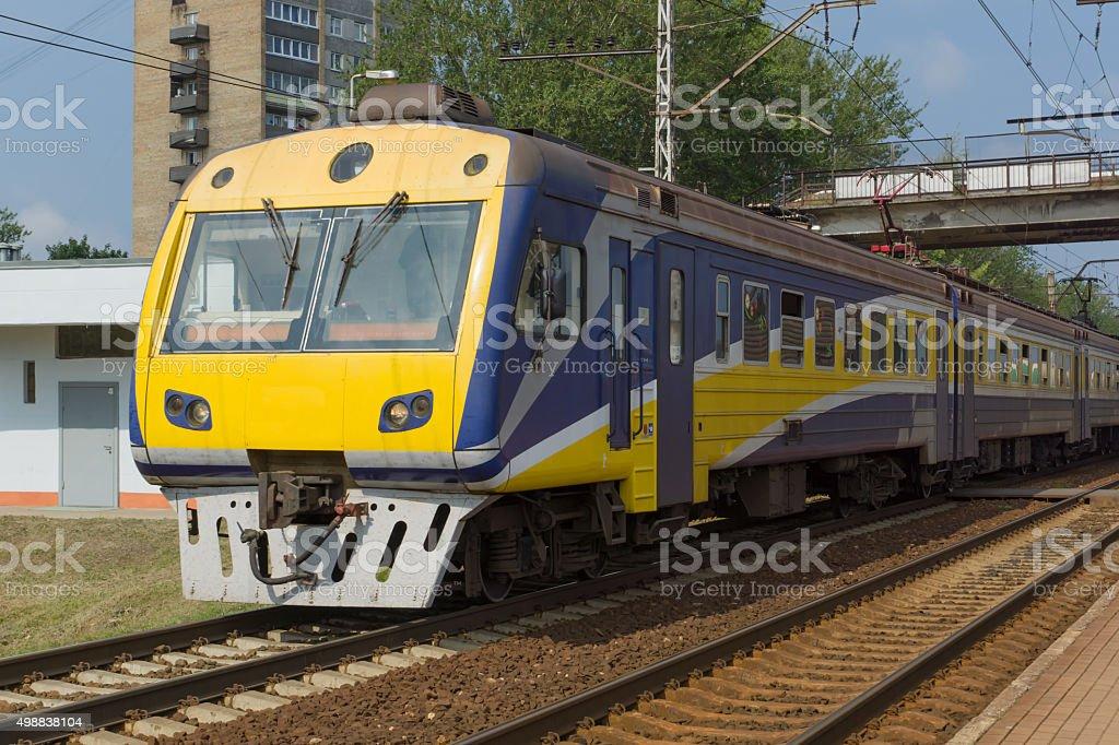 Train on railway tracks stock photo