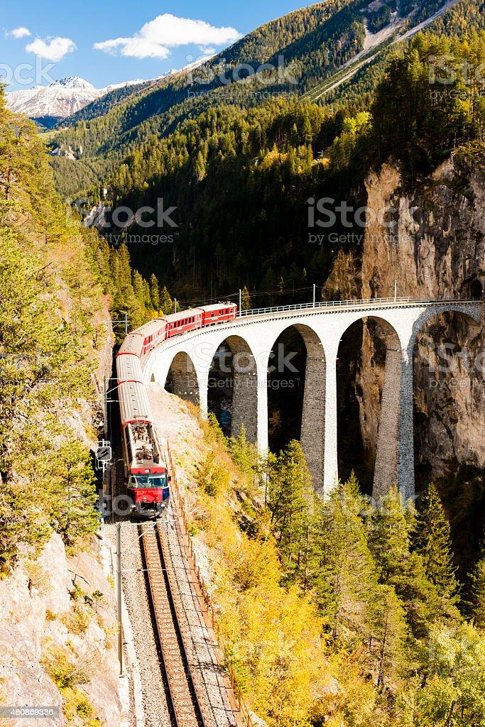 train on Rhaetian Railway stock photo