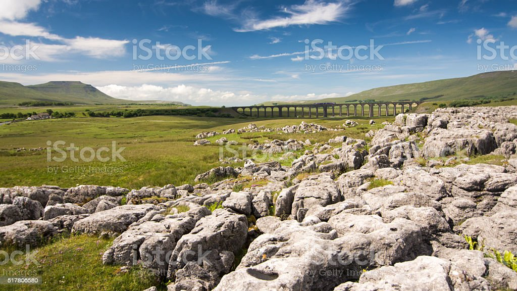 Train on Ribblehead Viaduct, Yorkshire Dales stock photo