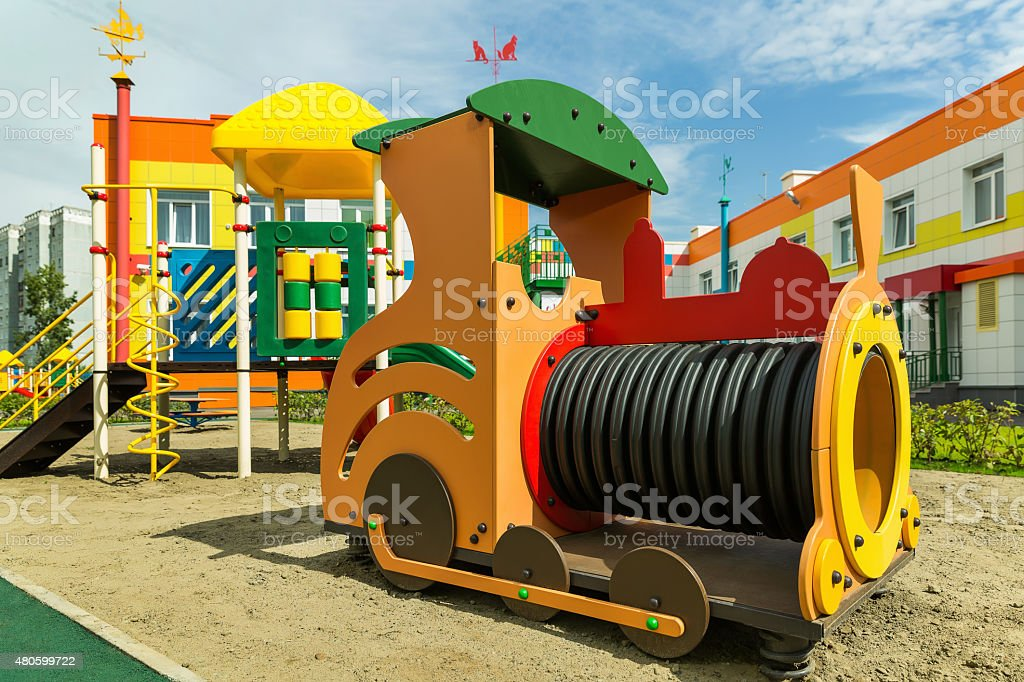 Train on the Playground for children stock photo