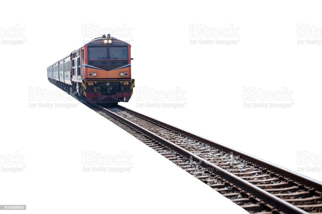 train on the track isolated on white background stock photo