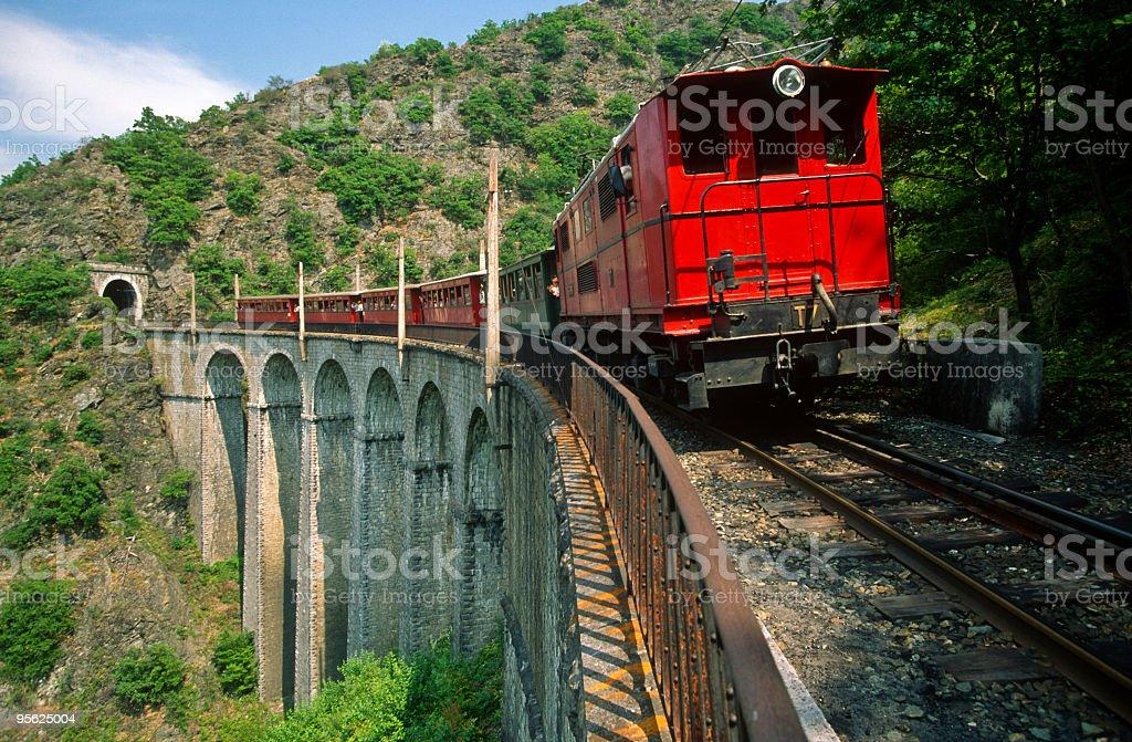 Train on Viaduct stock photo