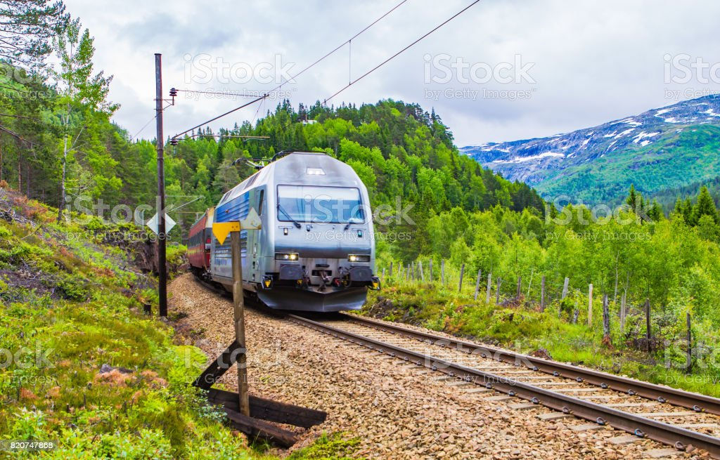 Train Oslo - Bergen in mountains. Norway. stock photo