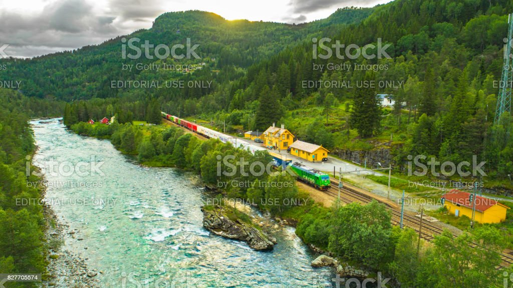Train Oslo - Bergen in mountains. Reime, Norway. stock photo