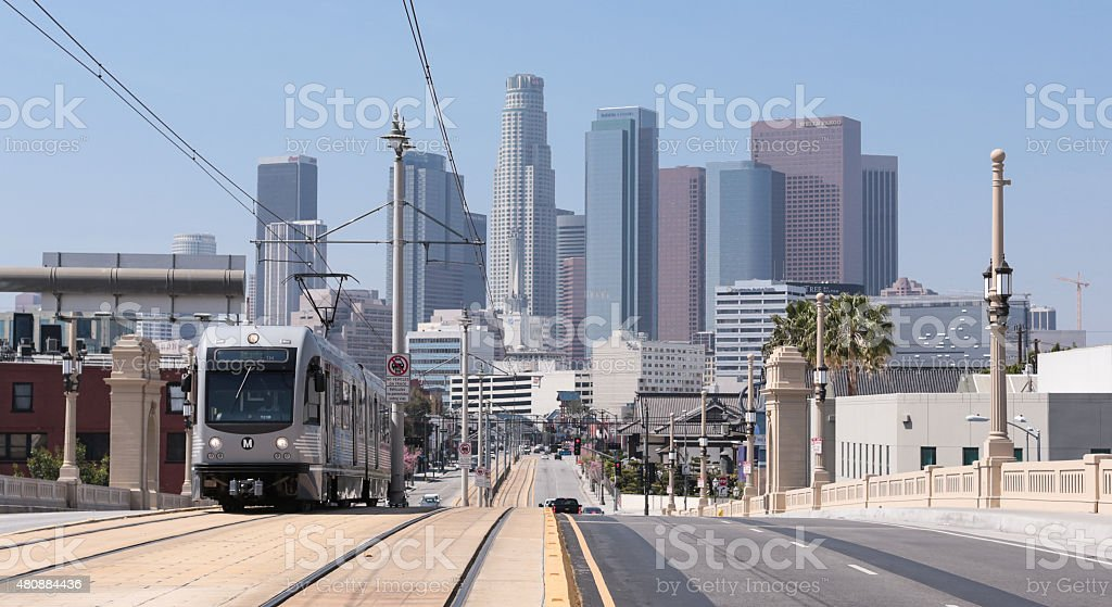 M Train Out of Downtown LA stock photo