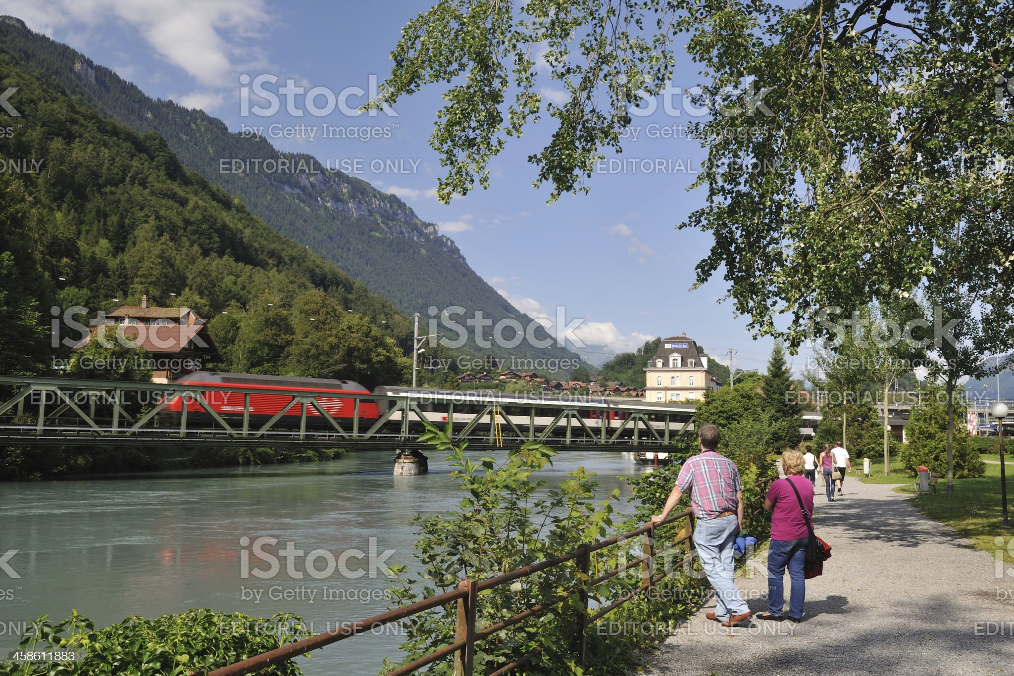 Train over River royalty-free stock photo