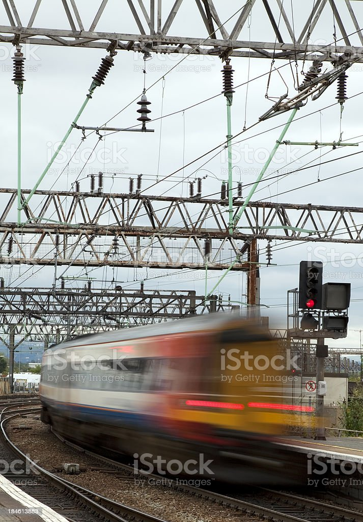 Train passing at speed stock photo