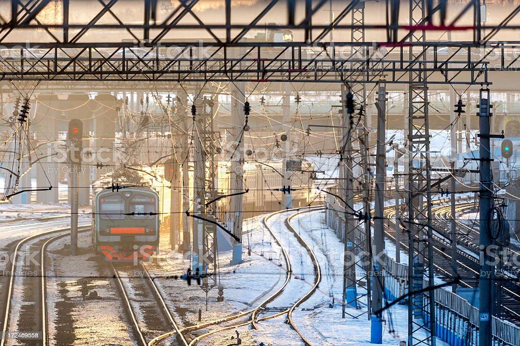 Train passing through railway junction. royalty-free stock photo