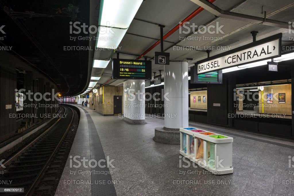 Train platform in the central train station of Brussels stock photo