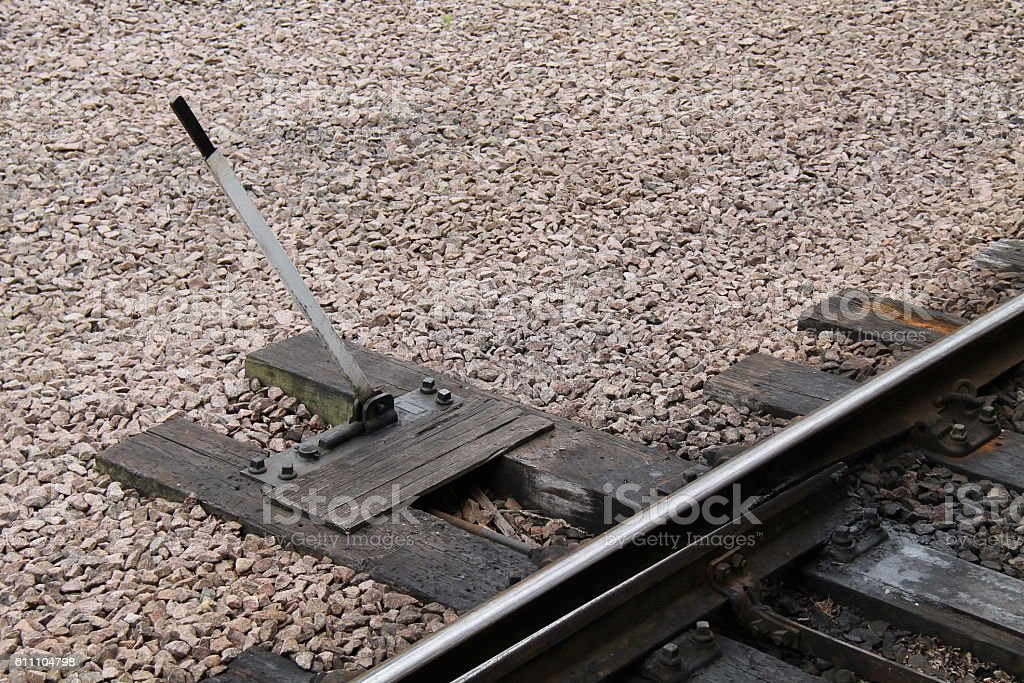 Train Points Lever. stock photo