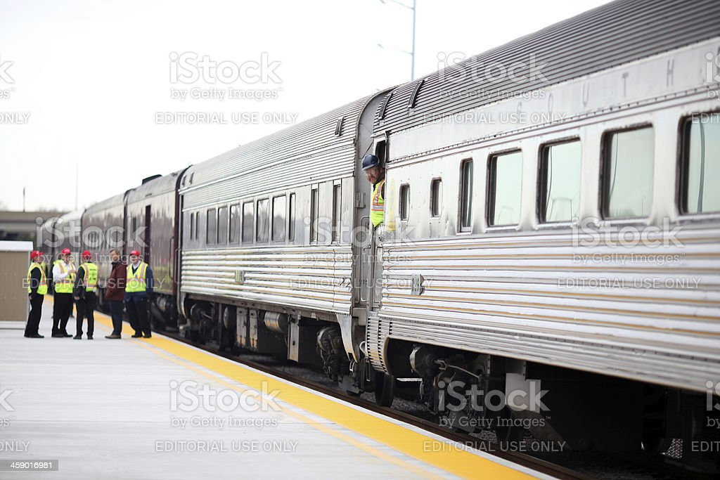 Train preparing to depart royalty-free stock photo