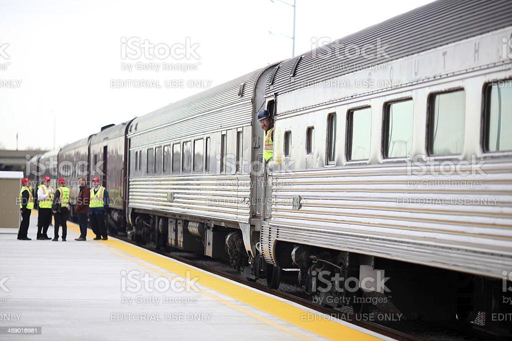 Train preparing to depart stock photo