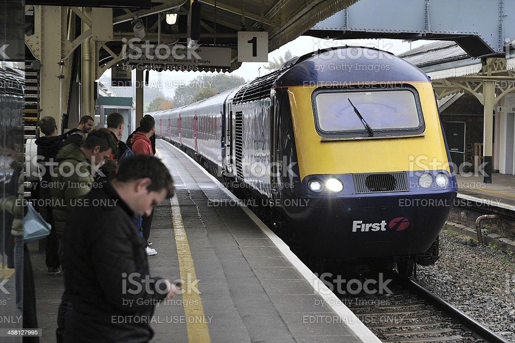 Train Pulls into a Station stock photo