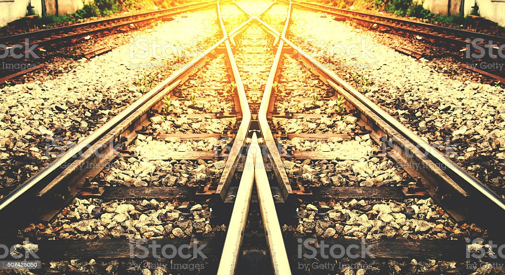 train rail way with sunlight background process on vintage stock photo