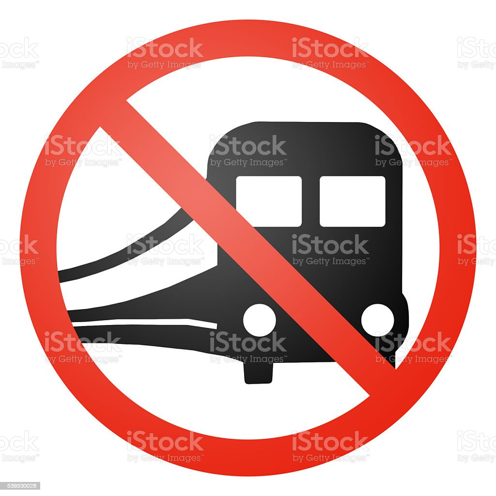Train / Railraod traffic sign, round, crossed out stock photo