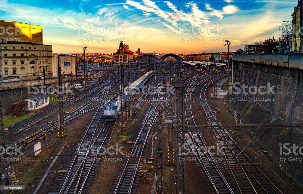 Train railroad station in Prague. Czech Republic. Dawn cloudly sky stock photo