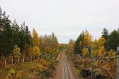 Train railtrack pathway colorful autumn fall landscape