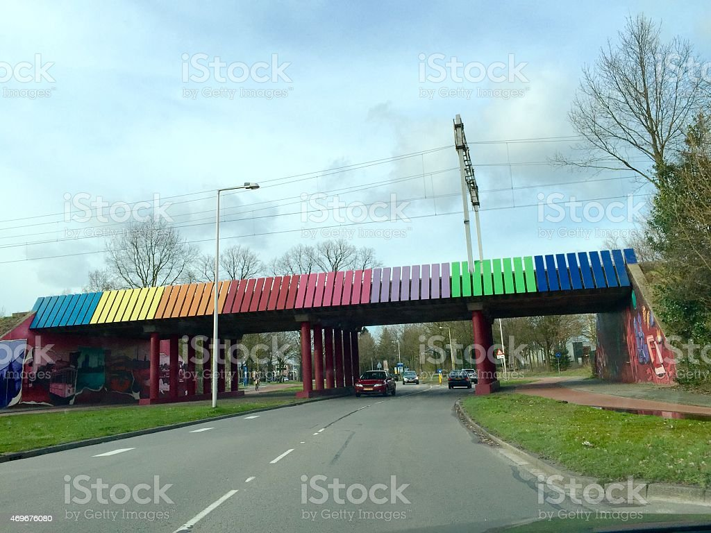 Train railway painted bridge in Enschede stock photo