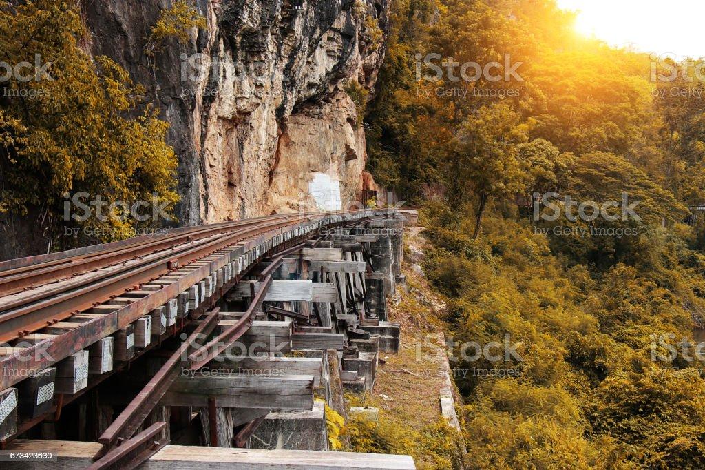 Train ride on the Death railway (river Kwai, Thailand). Death Railway train passing over the Tham Krasae Viaduct. Thai-Burma Railway stock photo