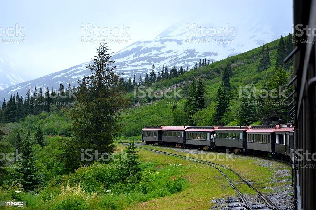 Train Riding through White Pass Mountains of Skagway, Alaska stock photo