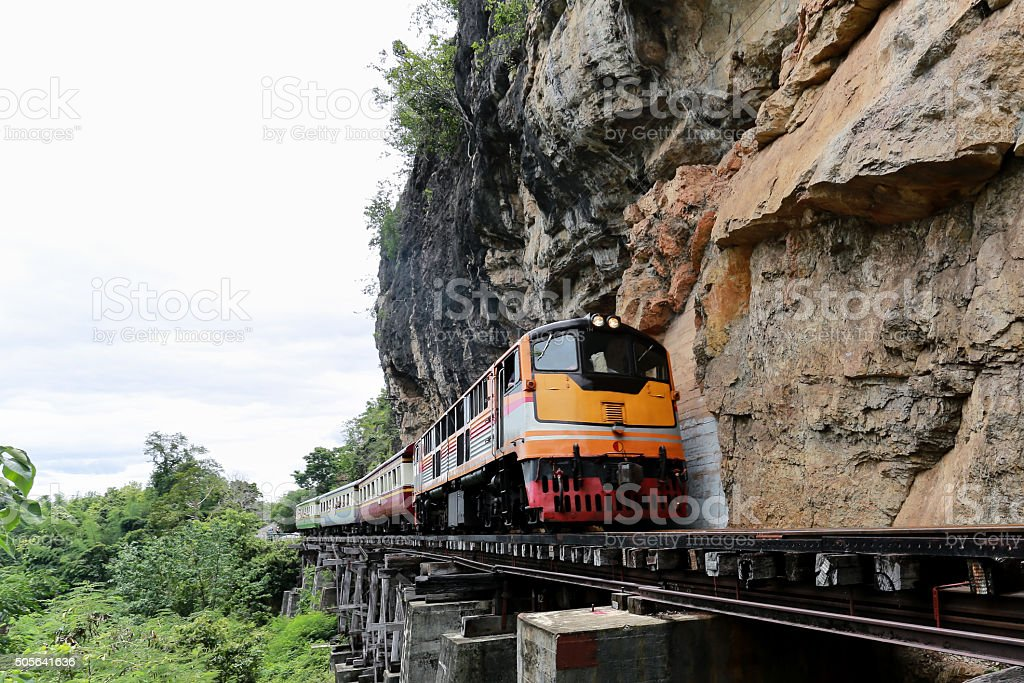 Train runing  on the death railway stock photo