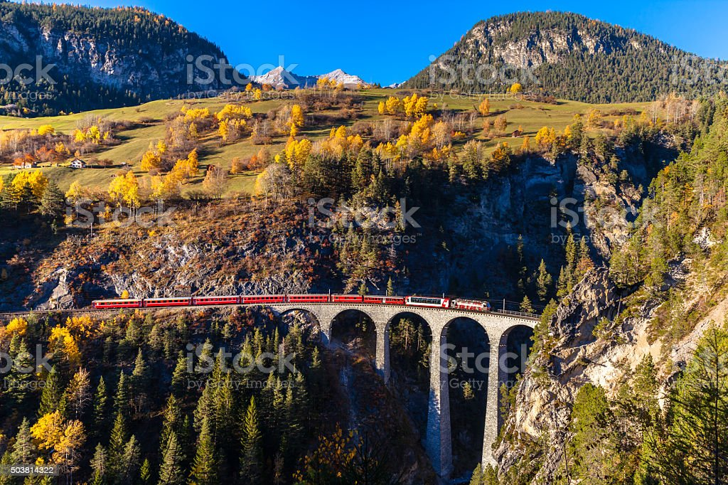 Train running on Landvasser Viaduct stock photo