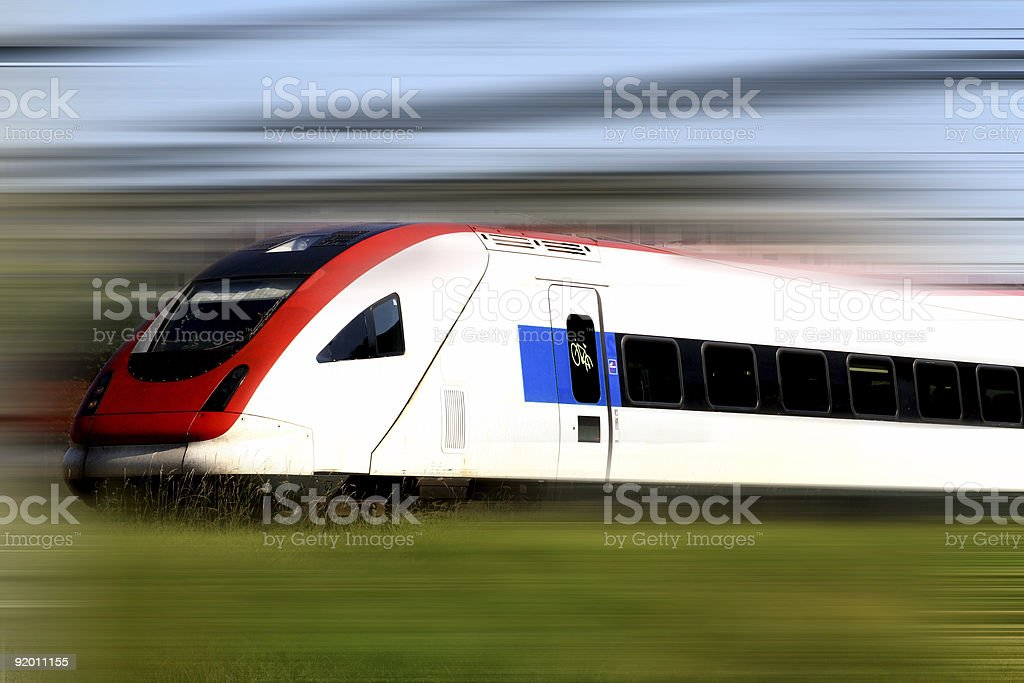 Train series moving quickly on tracks stock photo