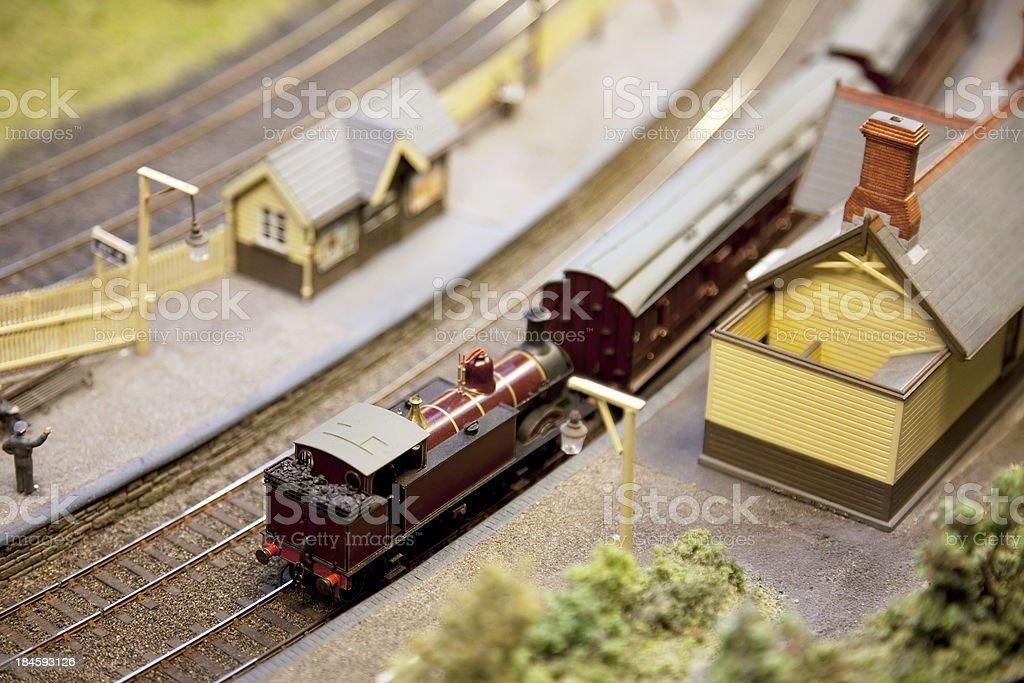 Train set, railway station stock photo
