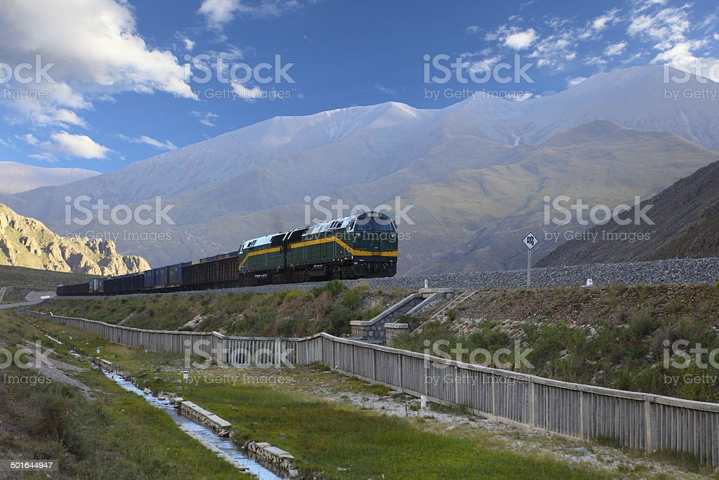 train, shot in Tibet stock photo