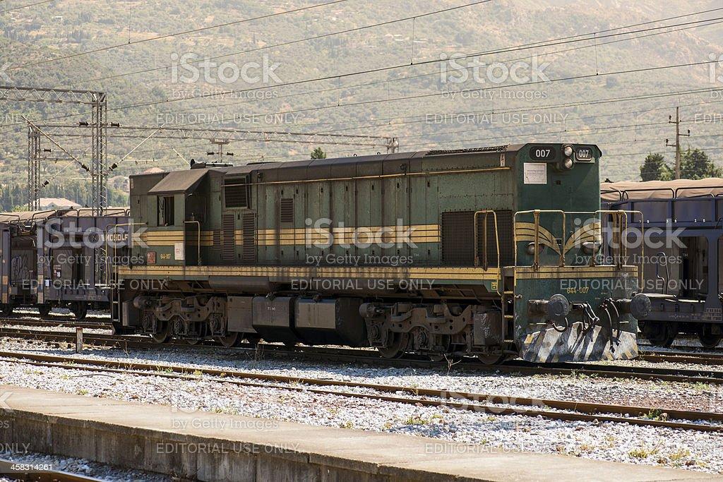 Train spotting: 644-007 series at Bar, Montenegro stock photo