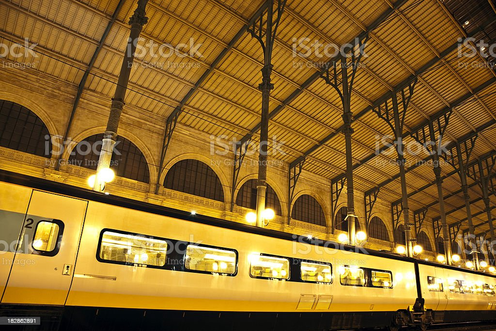 Train Standing in the Station at Night royalty-free stock photo