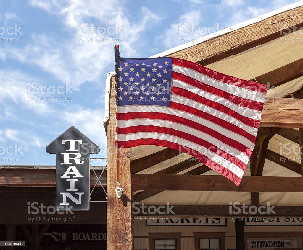 Train Station and USA Flag stock photo