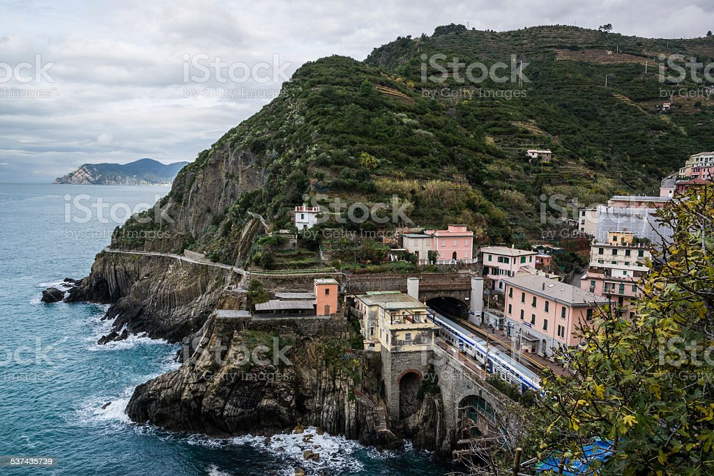 Train station at Riomaggiore in Cinque Terre Italy stock photo