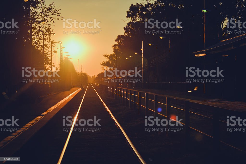 Train station at sunset stock photo
