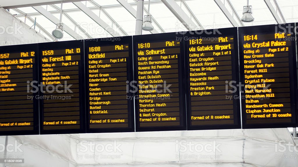 Train Station Departure Board. Times & Destinations stock photo
