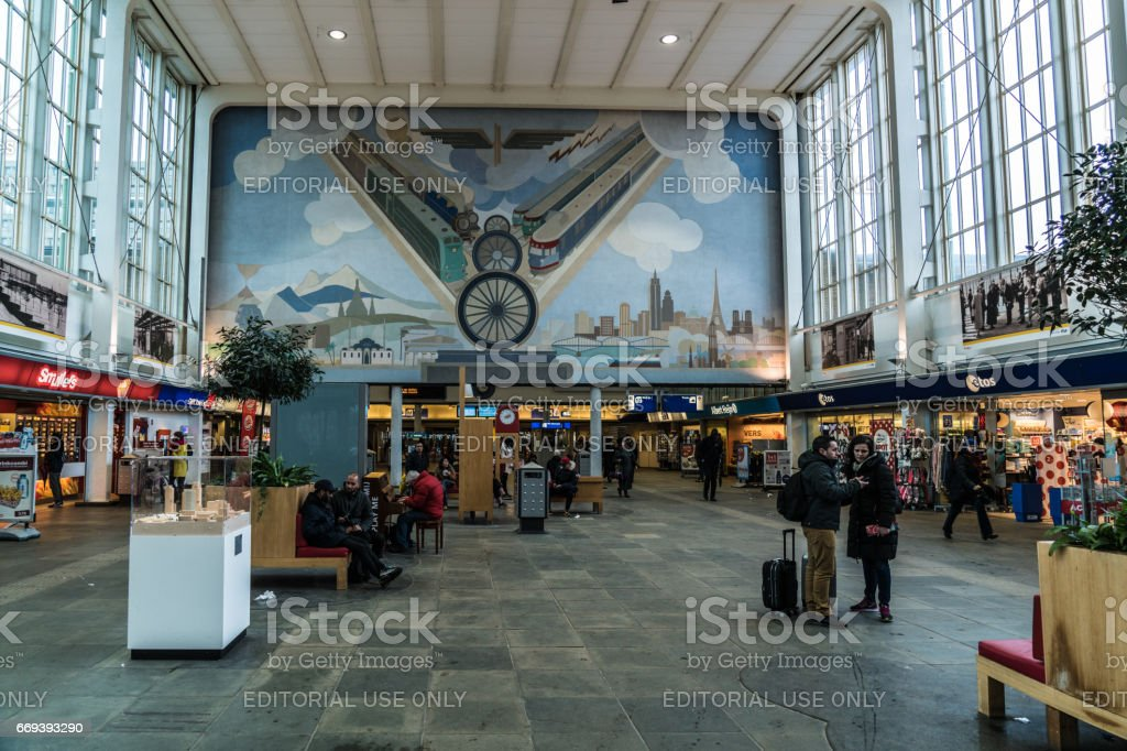 Train station entrance hall stock photo